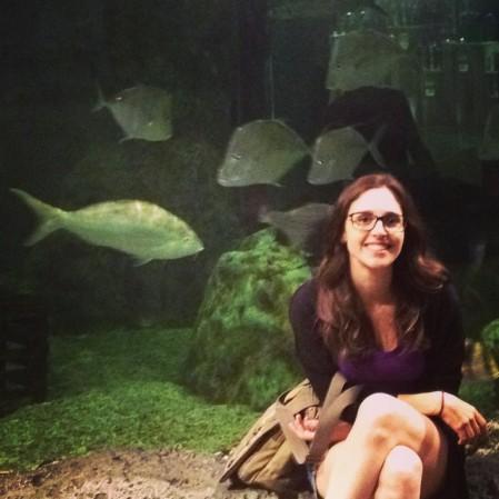 Em frente ao aquário da loja de caça e pesca do Dolphin Mall, em Miami