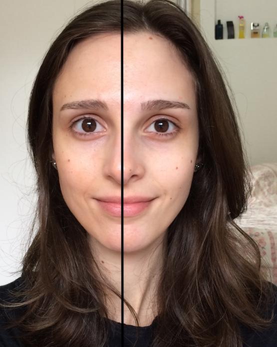 Comparação: pele com BB Cream Marina Smith X pele limpa